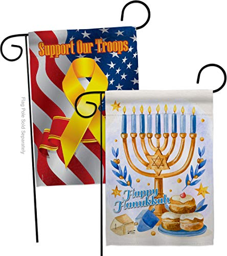 Jewish Festival Garden Flag - Pack Winter Hanukkah Candle Bonsai Menorah Chanukah David Support Our Troops - House Decoration Banner Small Yard Gift Double-Sided Made In USA 13 X 18.5