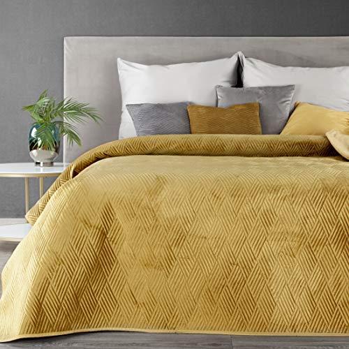 Eurofirany Weiche Tagesdecke Gesteppte Decke Ganzjährige Bettüberwurf Steppung Muster Samt Einfarbige Steppdecke Quilt (Ariel 1 Honig, 220 X 240 cm)