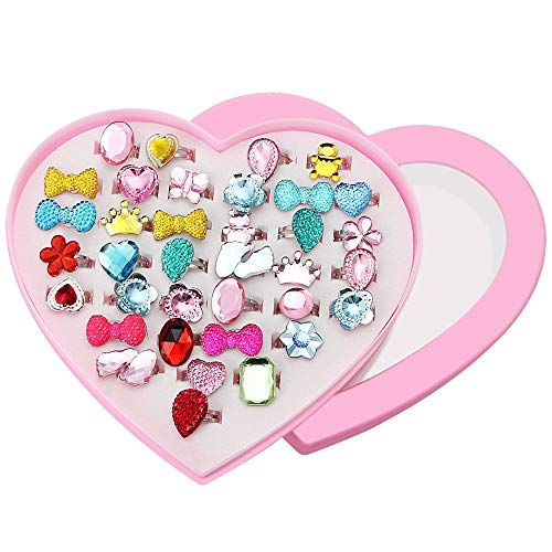CODIRATO 36 PCS Children's Ring with Heart Format Box Adjustable Finger Rings Sizes Plastic Rings for Favors of the Birthday Party