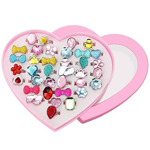 CODIRATO 36 PCS Anillo Infantil con Caja de Formato de Corazón Anillos de Dedos Ajustables Tamaños Anillos Plásticos para los Favores de la Fiesta de Cumpleaños