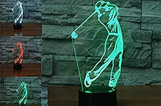 3D Golf Player Visual Night Light Touch Switch 7 Color Change LED Table Desk Lamp Acrylic Flat ABS Base USB Charger Home Decoration Toy Brithday Xmas Kid Children Gift