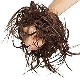 Moño Postizo Rizado Voluminoso Pelo Sintético Se Ve Natural Recogido Coletero Peinado Extensiones de Cabello Coleta Postiza Elegante para Mujer (Castaño Chocolate,45g)