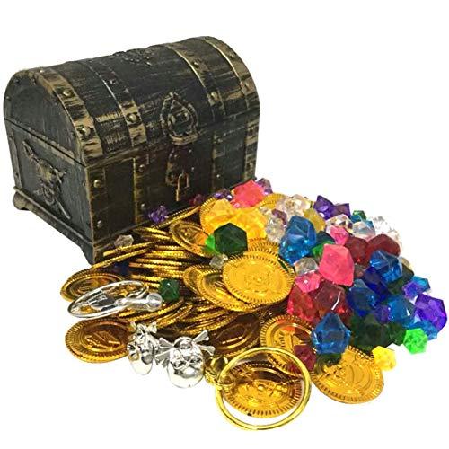 SHBOX Piraat Kunststof Schatkist Vintage Decoratieve Opbergdoos, Kleine Sieradendoos, Stuur Gouden Munten Ringen Gems Oorbellen 14x11cm(6x4inch) E