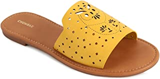 Chumbak Laser Cut Owl Yellow Sliders - 39