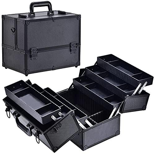 Costravio Professional Aluminum Makeup Train Case 14-Inch Cosmetic...