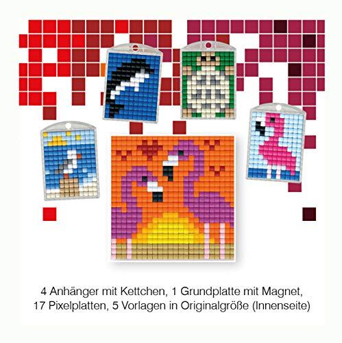 Pracht Creatives Hobby P90030-63501 - Pixel Spaß Bastelset 17, für 4 Medaillons, Schlüsselanhänger, für Kinder, Jungen und Mädchen, ideal als kleines Geschenk, Mitgebsel, für den Kindergeburtstag