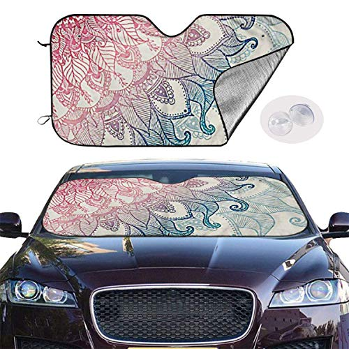 VTIUA Parasol para Parabrisa,parasoles de Coche Auto Indian Cool Mandala Portable Universal Sunshade Keeps Vehicle Cooler for Car,SUV,Trucks,Minivan Automotive and Most Vehicle Sunshade (51 X 27 in)