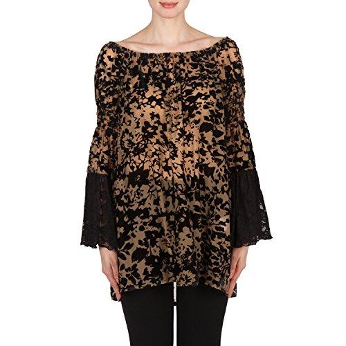 Joseph Ribkoff Ruffle Sleeve Velvet Flock Tunic Style 173536 Size 18