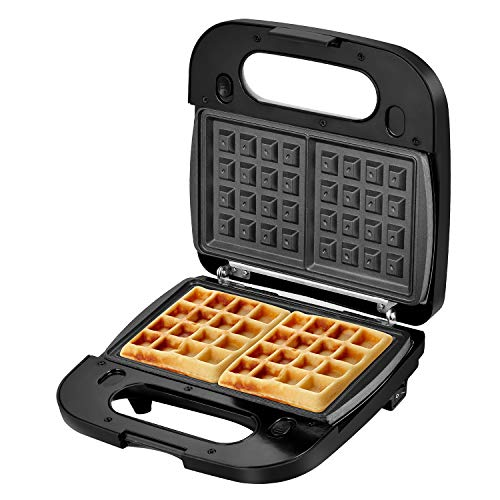Laukingdom Belgian Waffle Maker with Removable Plates, Sandwich Maker, Panini Press Grill,Toaster and 3-in-1 Detachable Non-stick Coating, Stainless Steel Surface and Drip Tray, Breakfast Sandwich Maker 2 Slice Black