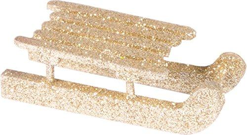 Chaks 0303-81, Sachet de 4 petites Luges 6,5cm en bois, Or pailleté