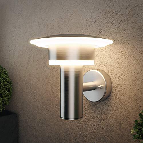 NBHANYUAN Lighting® Lámpara exterior LED de pared exterior para balcón, jardín, color plateado, acero inoxidable, 3000 K, luz blanca cálida, 220-240 V, 1000 lm, 9 W, IP44 (sin sensor PIR)