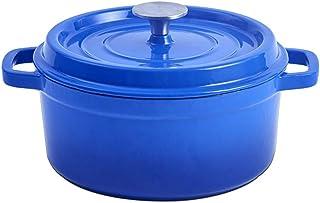 XCJJ Cazuela de hierro fundido | 3L / 4L | Olla antiadherente con revestimiento de esmalte | para guisos familiares, sopas, guisos, horneados, asados, rojo-24 cm,Azul,24cm