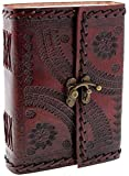 Handmade Large 8' Embossed Leather Bound Journal with lock Genuine Brown Antique Old personal Diary notebook journal Men Women Hand embossed
