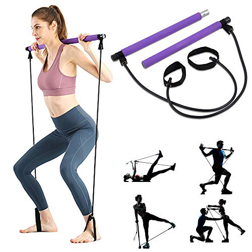 Price comparison product image ShaggyDogz Portable Pilates Bar Kit with Resistance Band Yoga Exercise Pilates Bar with Foot Loop Toning Bar Yoga Pilates for Yoga, Stretch, Twisting, Sit-Up Bar Resistance Band (Purple) (Purple)
