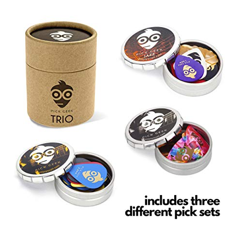 Pick Geek TRIO | 3 Sets of Premium Guitar Picks (Plectrums) | for Your Electric, Acoustic, or Bass Guitar | X Heavy, Heavy, Medium & Light | in 3 Metal Pocket 'Click Clack' Boxes | A Perfect Gift