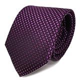 TigerTie Designer Seidenkrawatte lila violett purpur schwarz gepunktet - Krawatte Seide