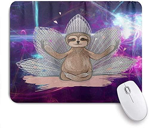 Alfombrilla de ratón para Juegos, Little Cute Sloth Meditation Lotus Yoga, Alfombrilla de ratón con Base de Goma Antideslizante para Ordenadores portátiles Alfombrillas de ratón 25cmX20cm