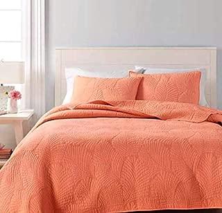 Martha Stewart Collection Reversible Quilt - Atlantic Palm Coral Orange Twin