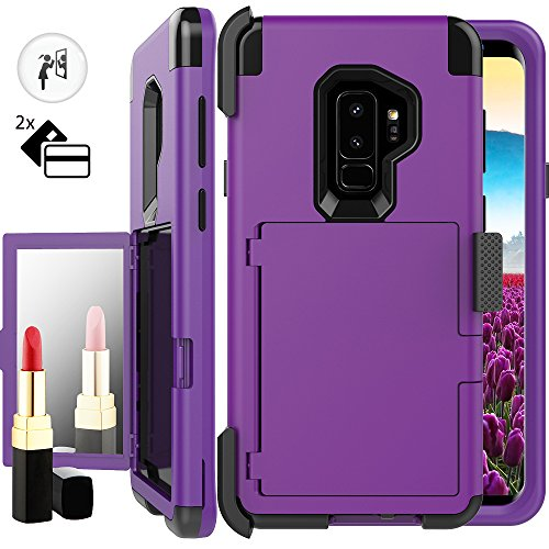 Galaxy S9 Plus Wallet Case for Women,Auker Card Holder+Makeup Mirror Shockproof Case with Belt Clip Heavy Duty Military Grade Full Body Hybrid Protective Cover for Samsung Galaxy S9 Plus (Purple)