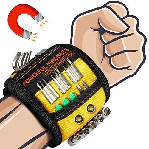 Pulsera Magnetica Regalos Manitas Bricolaje - Muñequera Magnetica con 15 Imanes Potentes para Sostener Herramientas, Muñequera Imantada Regalos Originales para Hombre Cumpleanos Mujer&Padre