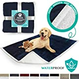 PetAmi Waterproof Dog Blanket for Couch, Sofa | Waterproof Sherpa Pet Blanket for Large Dogs, Puppies | Super Soft Washable Microfiber Fleece | Reversible Design | 50 x 40 (Blue)