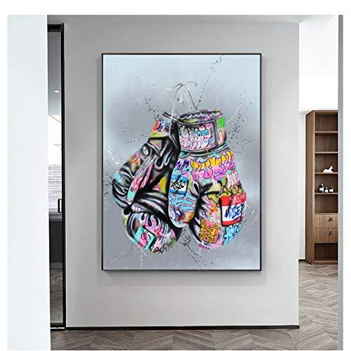 GIRDSS Guantes de Boxeo, Carteles e Impresiones artísticos de Graffiti en la Pared, Pintura en Lienzo, Cuadro de Arte de Pared de Calle, 50X70cm sin Marco