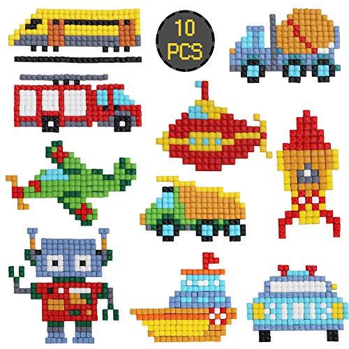 10x Vehicle 5D Diamond Painting Kit, Cartoon Car Ship Rocket Airplane Sticker Full Square Drill Rhinestone Mosaic DIY Paint by Numbers Art Craft Child Gift