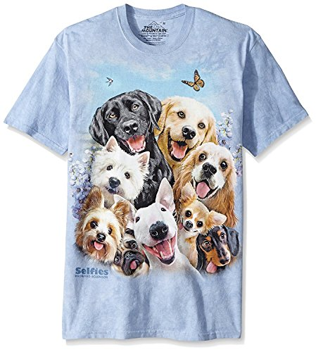 The Mountain Dog Selfie Adult T-Shirt, Blue, 2XL