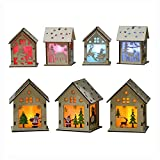 Wood Craft Kits Unfinished Small Houses 3D Cutting Wooden Puzzle Toy for Kids and Adults Build Your Own Perfect Decoration-Including 7 pcs