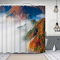 シャワーカーテン秋の色 防水 目隠し 速乾 高級 ポリエステル生地 遮像 浴室 バスカーテン お風呂カーテン 間仕切りリング付のシャワーカーテン 180 x 180cm