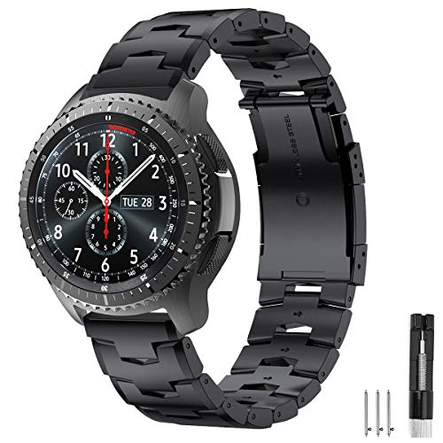 Syxinn Compatible con Correa de Reloj Gear S3 Frontier/Classic/Galaxy Watch 46mm Banda Pulseras, 22mm Titanio Metal Pulsera para Moto 360 2nd Gen 46mm/Huawei Watch GT/GT 2 46mm/GT 2 Pro/GT 2e