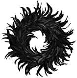 Touch of Nature Cocktail Feather Wreath, 15-Inch - Black Cocktail Feathers - Front Door Wreath - Natural Feathers