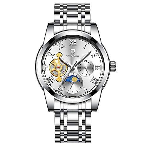 Reloj mecánico analógico de Cuerda Manual para Hombre con Correa de Acero Inoxidable Correa-C