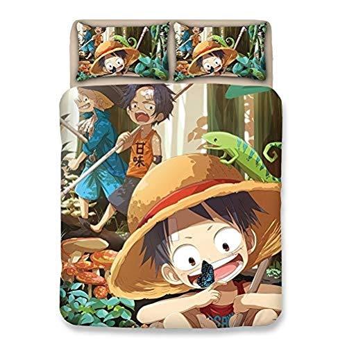 XWXBB Paar Bettwäsche Niciyo One Piece Bettwäsche-Set, 3-teilig, mit 3D-Bettbezug ? 3-teiliges Bettwäscheset (Bettbezug + 2 Kissenbezüge), dick und weich (A11,Super King 220x260cm)