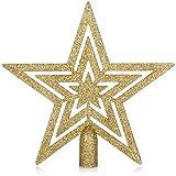 com-four Weihnachtsbaumspitze Glitzer-Stern - Stern-Spitze für Weihnachtsbaum - Christbaumspitze für Jede Baumspitze - Weihnachtsstern bruchsicher (goldfarben)