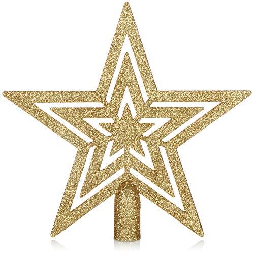 com-four® Weihnachtsbaumspitze Glitzer-Stern - Stern-Spitze für Weihnachtsbaum - Christbaumspitze für Jede Baumspitze - Weihnachtsstern bruchsicher (goldfarben)