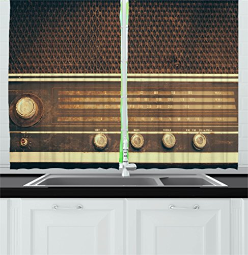 Ambesonne Vintage Kitchen Curtains, Old Antique Retro 60s Style Radio Music Player Loudspeakers Buttons Image, Window Drapes 2 Panel Set for Kitchen Cafe Decor, 55' X 39', White Brown