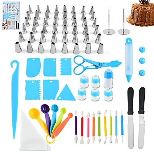 78 PCS Kits de decoração de bolos com pontas de confeiteiro Sacos de confeitaria Unhas de flores Acopladores reutilizáveis Colher de medição Conjunto de ferramentas de cobertura para bolos de