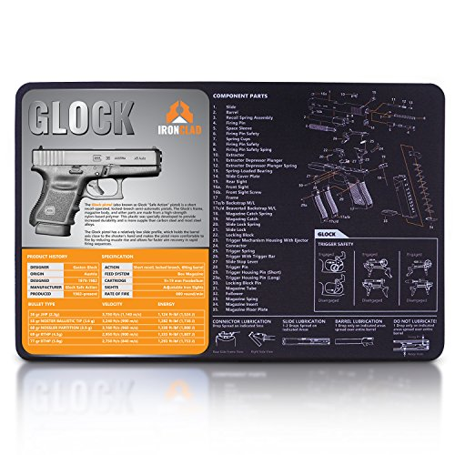 IRONCLAD Cleaning Mat Compatible for Glock - 3mm Neoprene - 17 x 11 Inches Waterproof - Oil Resistant - Hand Gun Cleaning Mat - Detailed Diagram and Assembly Instruction - 9mm Gun Cleaning Mat