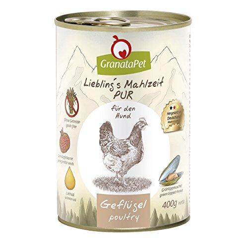 GranataPet Liebling's Mahlzeit Geflügel PUR, Nassfutter für Hunde, Hundefutter ohne Getreide & Zuckerzusätze, Alleinfuttermittel mit hohem Fleischanteil & hochwertigen Ölen, 6 x 400 g
