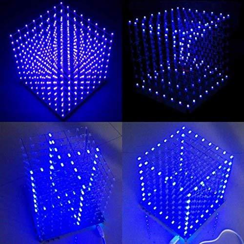 Yongse Geekcreit 8x8x8x8 LED Cube 3D Light Square Blue LED Electronic DIY Kit