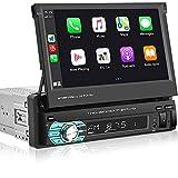 Hikity Autoradio 1Din avec Carplay Android Auto Écran Tactile Rétractable De 7 Pouces Système Audio Bluetooth Récepteur FM Récepteur Téléphonique + Caméra De Recul