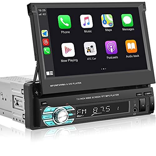 Hikity Bluetooth Autoradio 1 Din Apple Carplay Android Auto 7 Pollici Touch Screen Retrattile Ricevitore FM Collegamento Telefonico + Telecamera Di Backup
