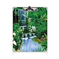印刷者 クリップボード 用箋挟 クロス貼 A4 短辺とじ 自然 ファイルボード (2個)フォレストバレーイメージシダ緑水色の岩紅葉カスケードを流れる滝