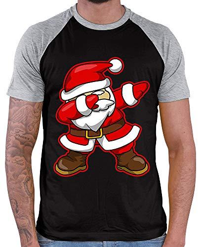 HARIZ Herren Baseball Shirt Dab Weihnachtsmann Nikolaus Weihnachten Dab Dabbing Tanzen Halloween Inkl. Geschenk Karte Black/Grey Melange L
