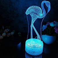 リモコン、Led 3Dナイトライトフラミンゴ常夜灯子供の寝室の装飾デスクランプ16色