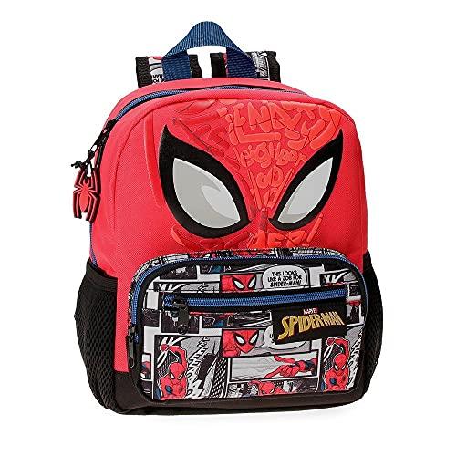 Marvel Spiderman Comic Mochila Preescolar Adaptable a Carro Rojo 23x28x10 cms Poliéster 6,44L