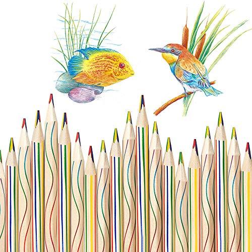 EMAGEREN 30 Stücke Zeichnung Bleistift 4 in 1 Regenbogen Buntstift Set Regenbogenfarben Buntstift Zauberstift Farbstift aus Holz Mehrfarbig für Kunst Zeichnung, Färbung und Skizzieren