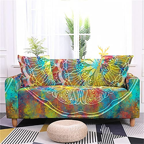 DHHY Modern And Simple Digital Printing Sofa Cover, Polyester Fiber All-Inclusive Sofa Cover, Anti-Fouling All-Season Universal Sofa Cover 1 2 3 4 Seater 1-seater 90-140cm