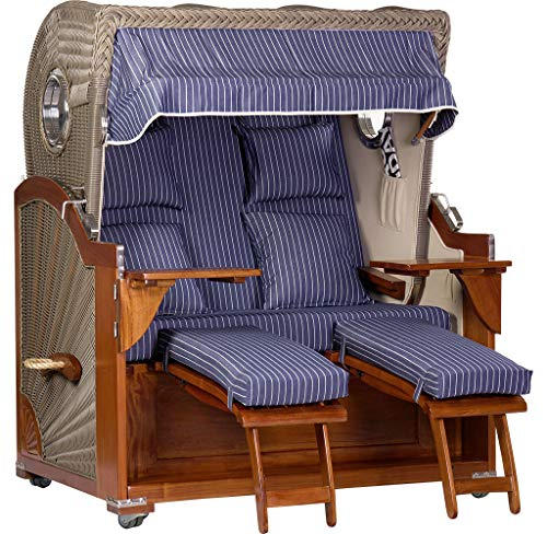 foolonli Strandkorb Luxus 2,5 Sitzer aufgebaut Blau-Weiß gestreift mit Bullauge Mahagoni Holz XXL